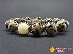 Unisex jasper bracelet Beige jasper jewelry Dalmatian jasper beads Health gemstone bracelet Jasper meditation bracelet Energy amulet
