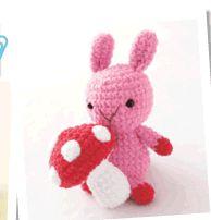 Pink Rabbit and Mushroom Free PDF Japanese Pattern - Rabitt Pattern Instant download here: http://www.clover.co.jp/pdf_dl/kyan/knit/pdf/06amigurumi/01030507ani.pdf -  Mushroom pattern here: http://www.clover.co.jp/pdf_dl/kyan/knit/pdf/06amigurumi/06ki.pdf