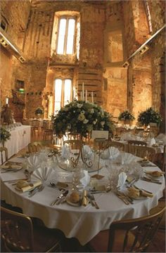 Table lay out in Castle Dining Room - Lulworth Castle & Courtyard