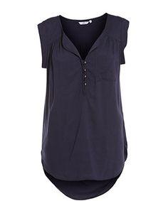 Navy (Blue) Navy Buttoned Dip Hem T-Shirt | 258323841 | New Look