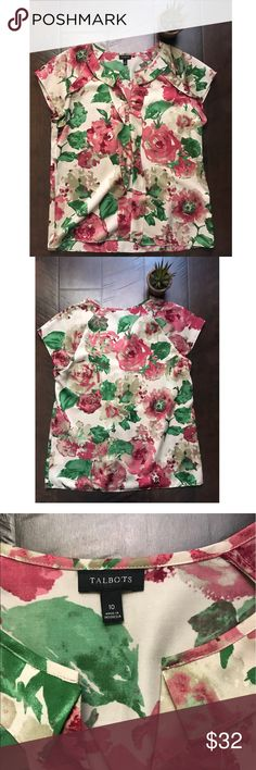"""Talbot's Floral Ruffle vneck blouse Talbot's floral ruffle botanical vneck Blouse size 10, EUC. 38"""" chest, approximately 24.5"""" from shoulder to hem. Made of polyester. Talbots Tops Blouses"""