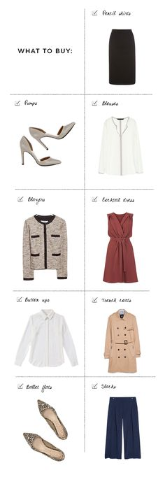 1. Pencil skirt, Mango, $70 / 2. Pumps, Warehouse, $80 / 3. Blouse, Mango, $60 (similar) / 4. Blazer, Mango, $90 / 5. Cocktail dress, Warehouse, $82 / 6. Button-up, Joe Fresh, $60 / 7. Trench coat, Mango, $90 / 8. Ballet flats, Sole Society, $65 / 9. Slacks, Mango, $70