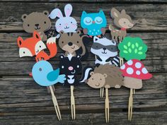 Woodland Party Cupcake Toppers  Baby Shower Birthday Party