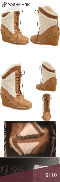 """AUSTRALIA LUXE COLLECTIVE SHEARLING WEDGE BOOT 8 Australia Luxe Collective Genuine Calf Hair & Shearling Boots  Style: Meditere  $298 retail price  New with box NO LID for box just the bottom part  Genuine calf-hair, shearling, accents and lining lend wintry style to a chic lace-up boot shaped from smooth leather and grounded by a rubber wedge sole. 3 1/2"""" heel; 3/4"""" platform  8"""" shaft. Leather, genuine calf hair (China) and genuine shearling (Australia) upper/genuine shearling (Australia)…"""