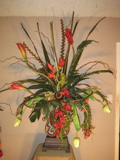 Gorgeous Silk Floral Entry way tropical exotic Floral Arrangement, Stunning!