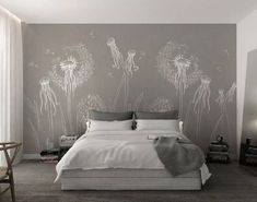 Floral Wallpaper Dandelion and Octopus Wall Mural Vintage Cafe Wall Decor Monochrome Flower Wall Painting Living Room Cafe Design - - Wall Painting Living Room, Wall Murals Bedroom, 3d Wallpaper Living Room, Bedroom Wall Designs, Living Room Bedroom, Bedroom Decor, Mural Wall, Dandelion Wallpaper, Decoration