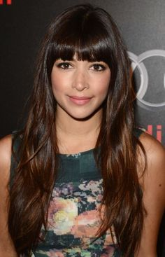 fringe bang with long hair and layers. with a subtle copper bayalage