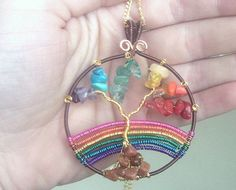 Tree Of Life Wire wrapped Rainbow Tree of by DragonflyHJewellery Tree Of Life Necklace, Tree Of Life Pendant, Gold Plated Necklace, Gemstone Necklace, Wire Wrapped Jewelry, Wire Jewelry, Etsy Uk, Etsy Jewelry, Rainbow Colors
