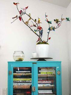 Tree Branch | Colorful Display | Bird Decor | Wall Art | Interior Design Trend