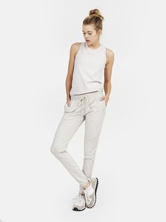 Running Woman Sweats in oatmeal $95 / @outdoorvoices