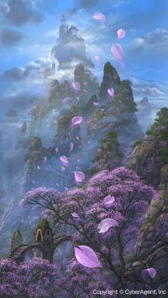 15 New Ideas For Fantasy Landscape Art Castles Temples Fantasy Art Landscapes, Fantasy Landscape, Fantasy Artwork, Landscape Artwork, Fantasy Places, Fantasy World, Fantasy Kunst, Fantasy Setting, Anime Scenery