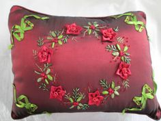 Christmas Decoration - Ribbon Embroidered and Beaded Pillow - Gorgeous