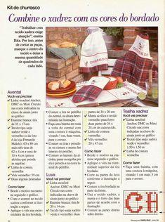 Gráficos de Ponto Cruz, Kit Churrasco, Kit Cozinha, Jogo de Cozinha, Ponto Cruz, Bordados, Avental, Luvas, Toalhas de Mesa, Panos de Prato, Gráficos