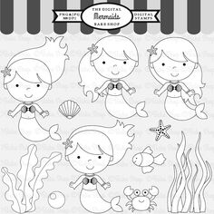 Mermaids Stamps - little mermaid stamps for your craft and creative projects.