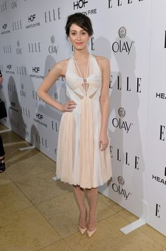 Emmy Rossum wears a summery two-tone J. Mendel halter to the ELLE's Annual Women in Television Celebration.