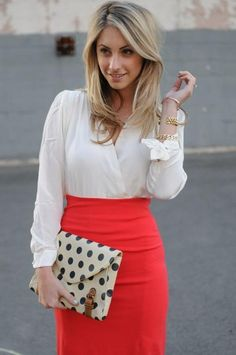 Pencil skirt, crossover blouse, and polka dot clutch