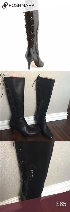 """Taryn Rose Tiara 👸🏽 7.5 Lace Corset Boot Napa leather upper. Back corset lacing. Almond toe. Leather sole with rubber insets. 3"""" covered heel. 14 3/4"""" shaft height, partial inside zipper. 14"""" calf circumference. """"Tiara"""" is imported. About Taryn Rose: Orthopedic surgeon Taryn Rose began her footwear company in 1997, after years of research on foot pain resulting from ill-fitting shoes. Rose's clinical experience and sense of current style combine to create footwear ergonomically designed…"""