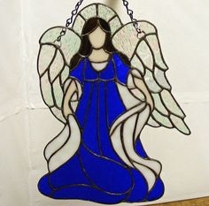 Stained Glass Angel  11 in. tall  Gaiety  by StainedGlassElegance, $115.00