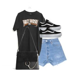 """""""Untitled #3966"""" by theeuropeancloset ❤ liked on Polyvore featuring Harley-Davidson, Vans and Chloé"""