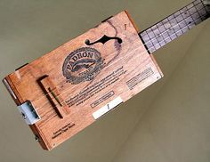 Cigar Box Guitar No 47 Padron 2000 Acoustic and Electric by Squier, $225.00