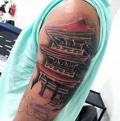 Red And Grey Shaded Guys Japanese Temple Upper Arm Tattoo Japanese Sleeve Tattoos, Full Sleeve Tattoos, Upper Arm Tattoos, Arm Tattoos For Guys, Japanese Temple Tattoo, Arm Tattoos Black And Grey, Criminal Tattoo, Geometric Tattoo Arm, Traditional Japanese Tattoos