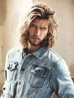 Hair And Beard Styles, Curly Hair Styles, Mens Long Hair Styles, Denim Hair, Blonde Guys, Blond Men, Man Bun, Haircuts For Men, Hairstyles Men