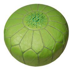 Lime Green Leather Pouf - Moroccan Prestige - $275 - domino.com