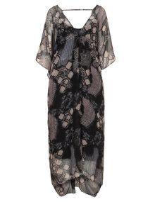 Zizzi Printed chiffon maxi dress in Black / Beige