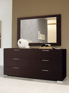 Modern-Traditional Bedroom Dresser with 6 Glossy Wooden Drawers ...