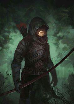 hunter/gatherer by archer ranger bow arrow hood hooded leather armor… Dark Fantasy, Fantasy Male, Fantasy Armor, Medieval Fantasy, Character Portraits, Character Art, Character Design, Dnd Characters, Fantasy Characters