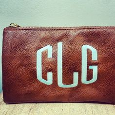 Leather clutch with monogram, loooove
