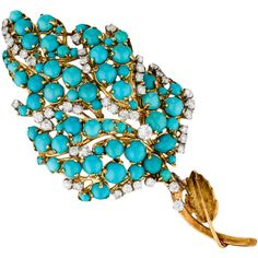 Pre-owned 18K Diamond and Turquoise Brooch ($3,245) ❤ liked on Polyvore featuring jewelry, brooches, blue, pre owned jewelry, pin jewelry, preowned jewelry, 18 karat gold jewelry and leaf jewelry