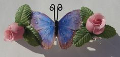 vintage butterfly and pink rose barrette hair by Ziporgiabella, $7.00