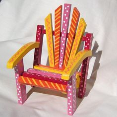 Doll Furniture  Doll Chair in Warm Sunny Colors Red by DreamMagic, $18.00