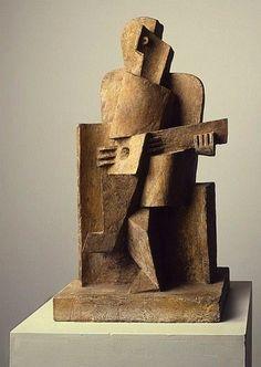 Sculpture A magnificent work of art.Michela Seated man with a guitar 1921 Jacques Lipchitz - Cubist Sculpture, Stone Sculpture, Contemporary Sculpture, Contemporary Art, Ceramic Figures, Ceramic Art, Land Art, Stone Art, Oeuvre D'art
