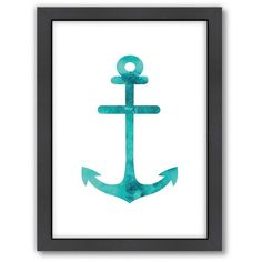 Americanflat Anchor Framed Wall Art, Turquoise/Blue (Turq/Aqua) ($66) ❤ liked on Polyvore featuring home, home decor, wall art, art, anchor home decor, turquoise home accessories, black and white home decor, black white wall art and turquoise home decor
