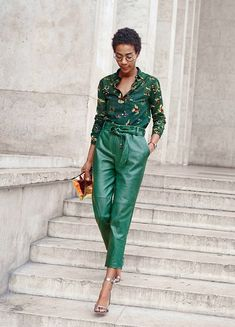 Shade, a singer and designer, embraced grassy green in a pair of J.Crew Collection high-waisted leather pants