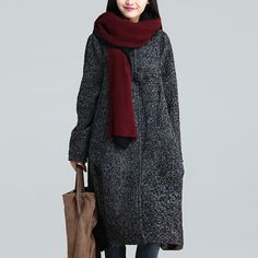 Gray Cashmere Coat Long Winter Warm Coat Wool by Jessieclothing