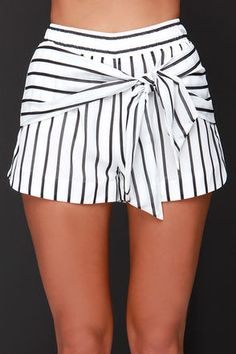 Cute Ivory Shorts - Black Striped Shorts - Bow Shorts - $73.00