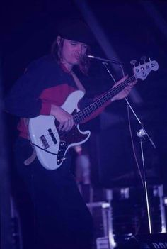 Jaco with his pale blue Fender bass...