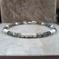 6ed8ece85 Labradorite bracelet, grey woman bracelet, silver labradorite bracelet,  layering bracelet, sparkly bracelet, beaded bracelet, gift