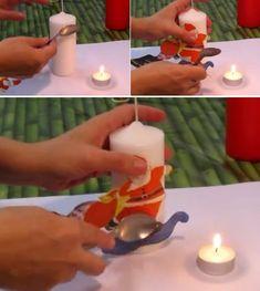 DIY video tutorial de decoupage velas con servilletas adornos de navidad