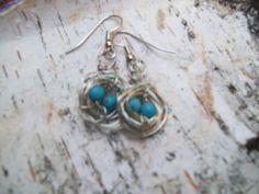 Bird robin's egg nest earrings....