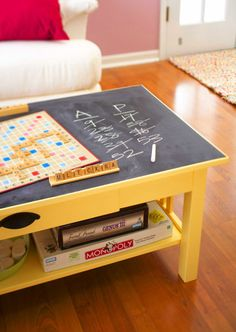 Turn old coffee table into a game room  table with new paint and chalkboard score keeper - could put that on one side of the table top, and a lego table on the other, and simply flip over