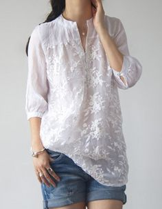 Buy Blouses & Shirts For Women at PopJulia. Online Shopping White Long Sleeve Embroidered Floral Organza Blouse, The Best Blouses & Shirts For Women. Casual Wear, Casual Outfits, Dress Casual, Casual Chic, Boho Chic, Vetements Clothing, Outfit Trends, Mode Style, Elegant Woman