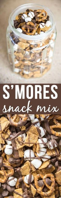 Ingredients: 3 cups golden graham cereal 1½ cups mini pretzels 2 cups mini marshmallows 1 cup chocolate chips