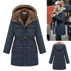 Winter British Style Slim Hooded Coat Women Thickening Liner Cold-proof