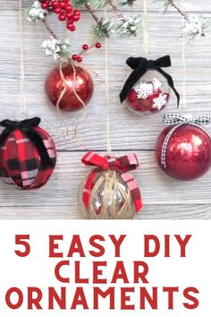 Clear Plastic Ornaments, Clear Christmas Ornaments, Christmas Crafts To Make, Christmas Ornament Crafts, Kids Christmas, Christmas Bulbs, Diy Christmas Ribbon, Diy Christmas Decorations Easy, Christmas Bedroom
