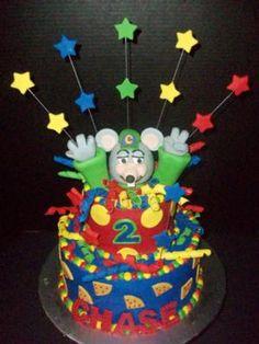 Chuck E Cheese Birthday Cake: I made this Chuck E Cheese birthday cake for my son's 2nd birthday party, at where else - Chuck E. Cheese's!!!   I sculpted the Chuck E Cheese head and
