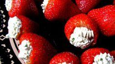 Valentine Day-food ideas-Whipped Cream stuffed Strawberries